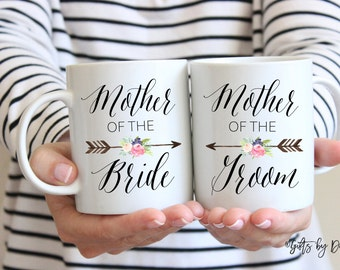 Mother of the bride Gift coffee mug, mother of the groom Gift coffee mug, coffee mug set, mom mug,Wedding thank you gift ideas m-124-5