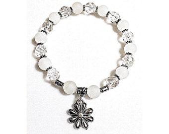 White Gemstone and Glass Charm Bracelet