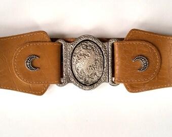Handmade Genuine Leather Buckle Belt for Women - Dragon Buckle, Renaissance Belt, vintage buckle belt, vintage belt, esoteric, medieval