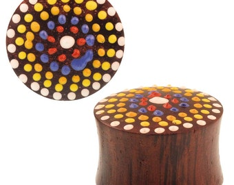 Sonoholz plug hand painted polka dots flower red yellow colored Expander tunnel tribal (No. HPT-283)