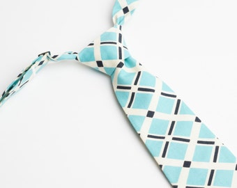 Blue & White Plaid Neck Tie With Adjustable Strap