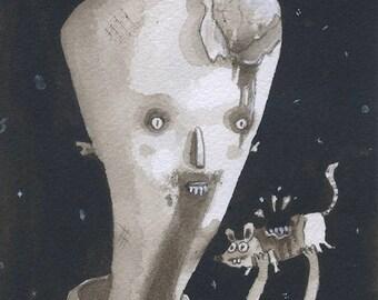 Zombie - Original Watercolor - Mab's Drawlloween Club Day 22