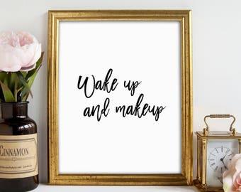 Beauty Print, Fashion Print, Makeup Wall Art, Teen Room Decor, Makeup Decor, Bathroom Sign, But First Mascara, Feminine Art, Printable Art