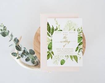 Greenery Rustic Gold The wedding of  Save the Date Template DIY Shower Template PDF Save the Date Template wedding printable save our date