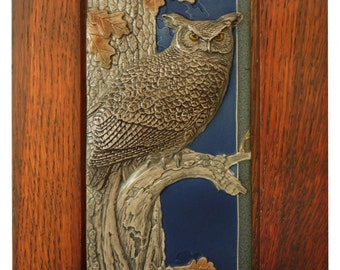 Framed Ceramic tile, animal art, sculpture, Night Shift, wall hanging, animal sculpture, Great Horned Owl