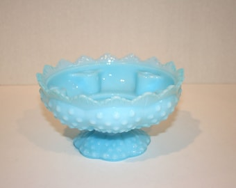 Fenton Hobnail Candle Holder//Blue Milk Glass Candle Holder//Vintage Candle Holder