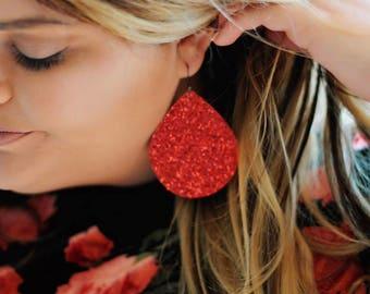 Red Teardrop Earrings