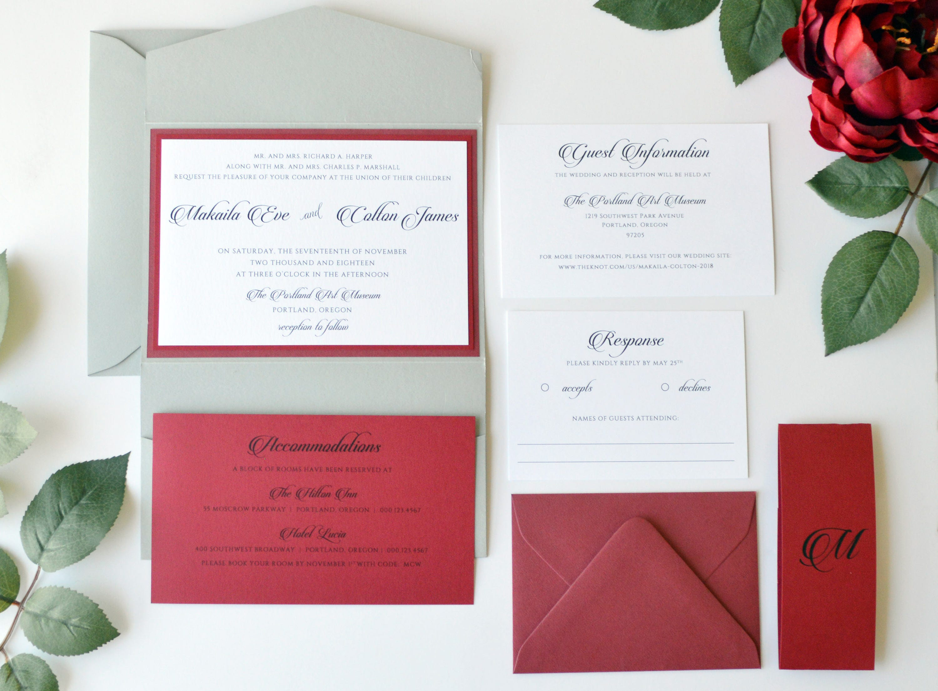 Red and Grey Wedding Invitation Suite Wedding Invitation