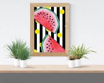 Watermelon || Monotone || Polkadot || A4 Art Print