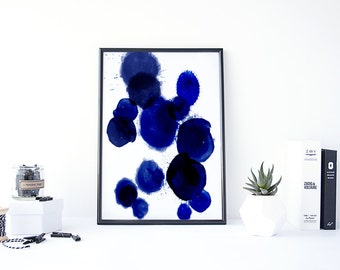 Abstract Painting Print, Abstract Watercolor Painting, Digital Painting, Dark Blue, Painting Abstract, Cobalt Blue Decor, Watercolor Blue