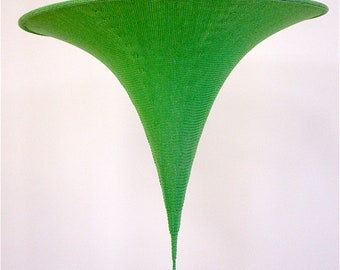 "Knitted Chandelier Ceiling Light Pendant Lampshade - Bright Green - 18"" (46cm) diameter"
