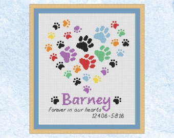 Pet memorial custom cross stitch pattern, personalised rainbow bridge paw prints chart, modern heart, dog, cat, name, PDF - instant download