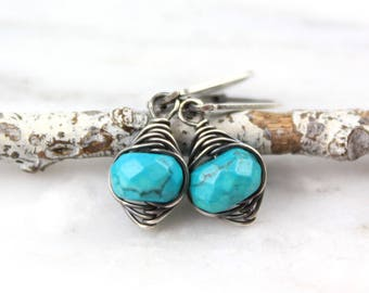 Faceted Blue Turquoise Wrapped Oxidized Silver Earrings
