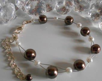 Wedding bracelet twist beads Brown and white