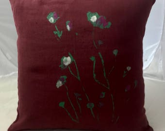 Linen cushion washed 45 cm X 45 cm lie of wine with a romantic poppy