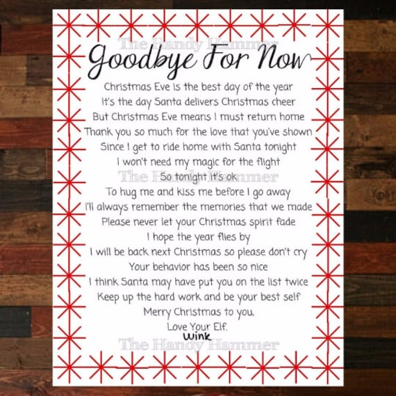 Items similar to Departure Leaving Letter for your Elf Goodbye