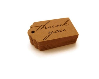 100 Count - Thank You Tags - Hang Tags - 1.5 x 1 inch - Kraft Tags - Scallop Tags - Holiday Tags - Wedding Favor Tags - Jewelry Tags TY34