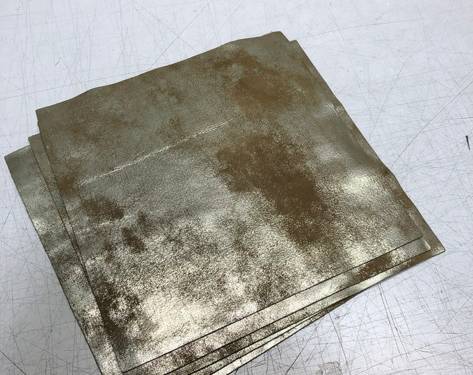 """12"""" x 12"""" Distressed Metallic: Luggage/Gold (1.1-1.3mm) Distressed Metallic Nubuck - Perfect for Handbags, Shoes, Garments, Accessories"""