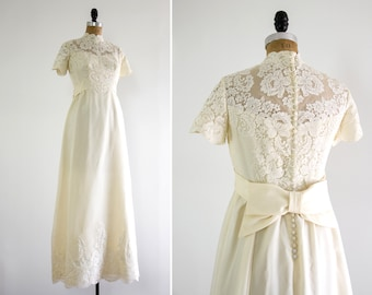 vintage 1960s wedding dress | 60s ivory lace illusion wedding gown | 1950s 1970s bow wedding dress