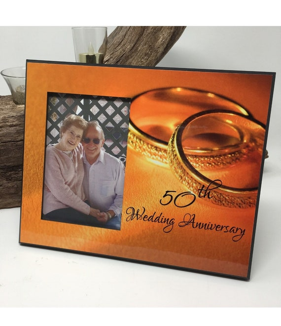 50th Anniversary Gift, 50th Wedding Golden Anniversary, Wedding Frame, Gold Anniversary, 50th Wedding Anniversary Picture Frame, 4x6 photo
