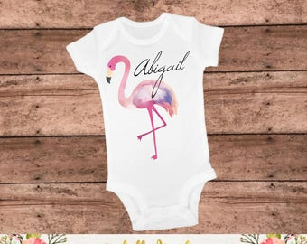 Personalized Flamingo Tee - Flamingo Outfit - Summer Bodysuit - Flamingo Shirt