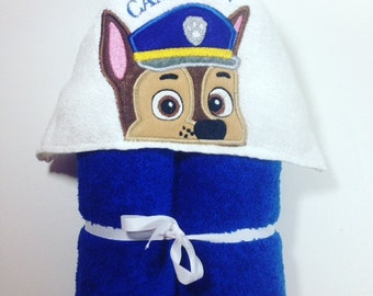 Paw Patrol Hooded Bath Towel, Chase Hooded Towel, Police Dog, Bathtime, Paw Patrol Peeker, Birthday Gift, Baby Shower, Paw Patrol Chase, Dog