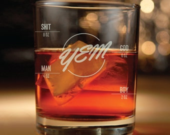 Phish inspired rocks glass with measuring line & YEM Lyrics engraved - (Christmas gift, Phish, rocks glass, Yem, You enjoy myself)