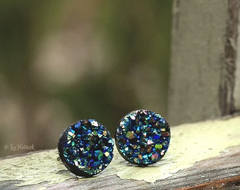 Glitter Stud Titanium Earrings, 12mm, Green Black Rainbow Metallic Faux Druzy with Titanium Posts