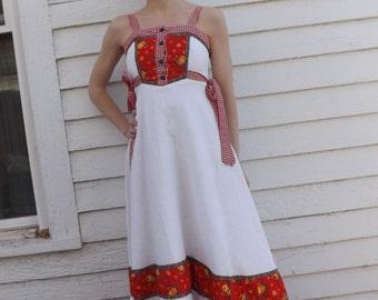 Gunne Sax Dress White Red Print Prairie Summer Maxi Vintage 70s XXS