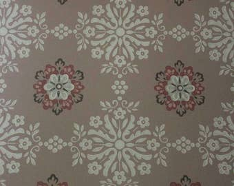 Mid century wallpaper sample 1950s pink