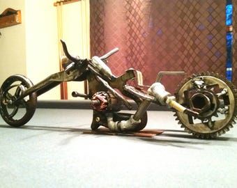Welded motorcycle sculpture
