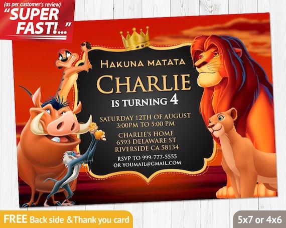 Lion King Invitation PRINTABLE Lion King Birthday Invitation