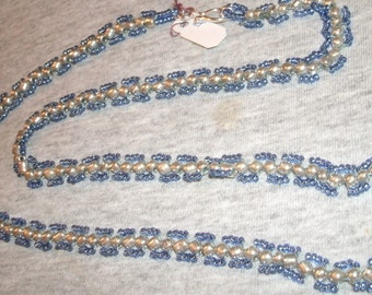 Blue and Silver Sead Bead Hand Beaded Necklace