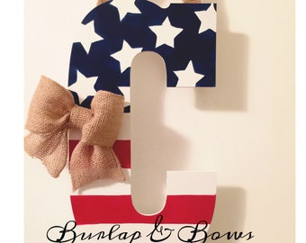 4th of July door hanger, red, white & blue, can do any initial, flag wreath, initial door hanger