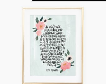 She was beautiful quote from F. Scott Fitzgerald, hand lettered, watercolor, floral, wall art, inspiring
