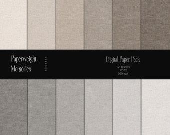 Basic Linen: Beige & Grey - Instant download - Digital Papers - textured paper - CU OK - Digital background