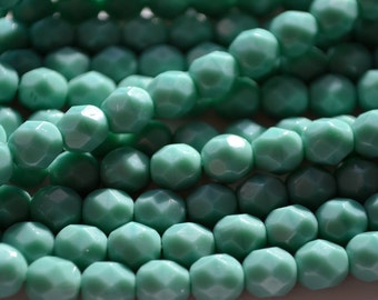 Opaque Turquoise 6mm Faceted Fire Polish Czech Glass Beads  25