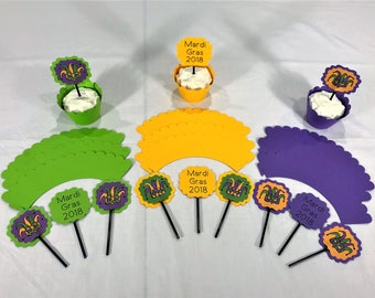 Mardi Gras Cupcake Toppers With Wrappers - Mardi Gras Party Supplies