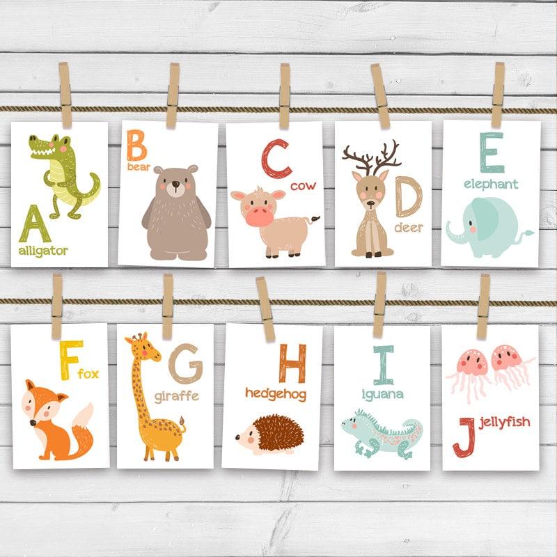 Animal Alphabet Card Set Flash Cards Abc Nursery Wall