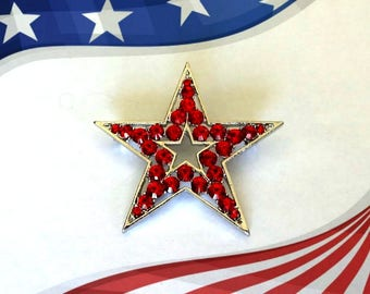 50% SALE..4th July Jewelry..Star Pin..Red Star Brooch..Flag Pin..American Flag Brooch..Patriotic Jewelry..USA Jewelry..Independance Day