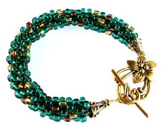 Emerald Green and Gold Kumihimo Bracelet, St Patricks Day Bracelet