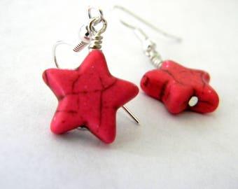 Pink Star Dangle Earrings Stone Earrings 15mm