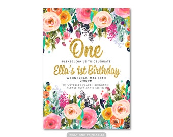 Floral 1st Birthday Invitation, Girl Birthday Invitation,  One Birthday Invitation,  First Birthday, Printable, Digital, Faux glitter 1550