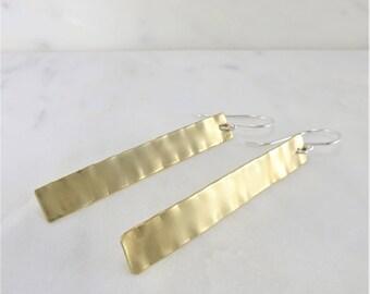 Brass Earrings ~ Geometric Earrings ~ Long Dangle Earrings ~ Hammered Brass ~ Rectangle Earrings ~ Long Brass Earrings ~ Statement Earrings