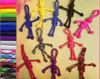 Set of 2! Paracord People Keychains (you pick colors)