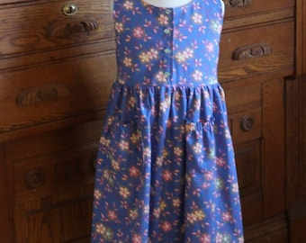 Girl's Blue Calico Jumper/Sundress Size 4/5 Ready to Ship