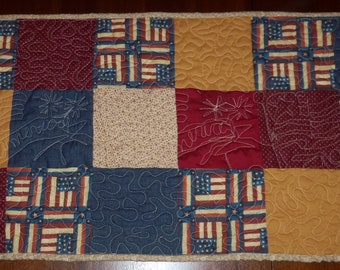 Quilted Table Runner, Americana Patriotic, Table Topper,  16x42 inches,  Unique, Machine Quilted, Table Quilt