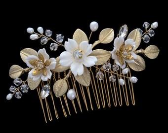 Bridal comb, Wedding Accessories, Bridal Headpiece, Wedding headpiece, Pearl and crystal Headpiece | FAITH Gold