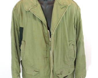 Vintage Buaero US Navy AL-1 Flight Jacket Drybak Military Faux Fur Lined Coat RARE