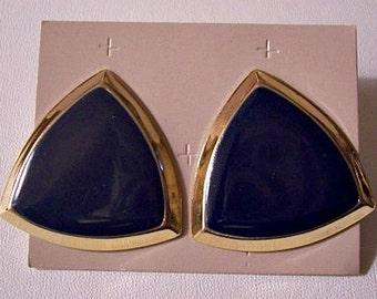Avon Blue Triangle Discs Pierced Post Stud Earrings Gold Tone Vintage Large Bevel Edge